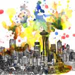 """Seattle cityscape skyline art painting"" by idillard"