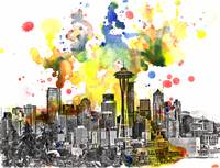 Seattle cityscape skyline art painting