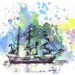 """Ship boat nautical art painting"" by idillard"