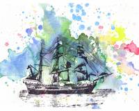 Ship boat nautical art painting