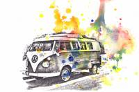VW Volkswagen Bus Car Automobile Art Painting