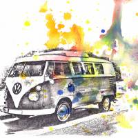VW Volkswagen Bus Car Automobile Art Painting Art Prints & Posters by Isabelle Dillard