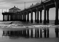 Manhattan Beach Pier Reflections in Grayscale