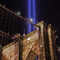 911 Tribute in Light & Brooklyn Bridge Tower Art Prints & Posters by New Yorkled