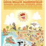 """Cartoon Map of Southern California w/description"" by caricatures"