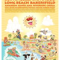 Cartoon Map of Southern California w/description Art Prints & Posters by Dave Stephens