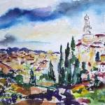 """Siena Italy Tuscan Landscape Watercolor"" by GinetteCallaway"