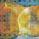 """Guitar Abstract Orange Blue"" by artistfaye"