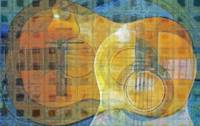 Guitar Abstract Orange Blue
