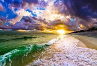 Purple Blue Beach Sunset with Crashing Wave