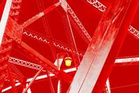 Red Bridge With Yellow Light