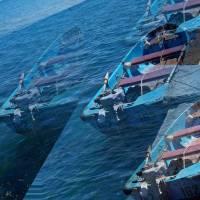 Blue Boat Black Sea Art Prints & Posters by Rick Todaro