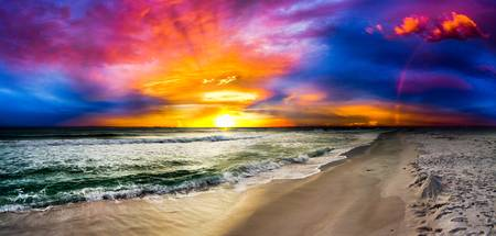 red blue and purple rainbow sunset panorama