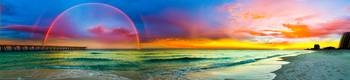 rainbow at sunset blue and purple panorama
