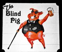 The Blind Pig Bar Woodcut