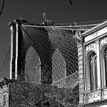 """Brooklyn Bridge Tower and Cables in Black & White"" by New-Yorkled"