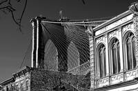 Brooklyn Bridge Tower and Cables in Black & White