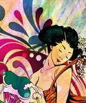 Retro Geisha Girl by romanovnafineart