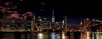 Lower Manhattan Skyline Panorama at Night