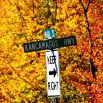"""""""Kancamagus Autumn Foliage Keep Right"""" by LukeMoore"""