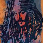 """Johnny Depp - Stylised Etching Pop Art Poster"" by visualharbour"