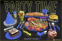Party Time Neon Blue - Appetizer Designs