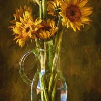 Sunflowers and Vase Art Prints & Posters by John Rivera