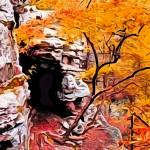 """Autumn Huntsville Cave in Photo Paint"" by kFergPhotos"