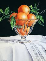 Oranges in Glass Bowl