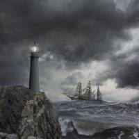 Tall-Ship-Lighthouse-Storm Art Prints & Posters by john lund