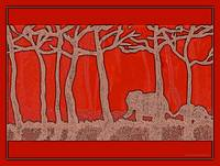 Elephants Bright Red