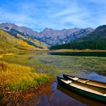 """""Two Canoes On Piney Lake"" Vail, CO"" by AlexandraZloto"