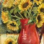 """Spirited Sunflowers, watercolor painting"" by schulmanart"
