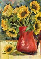 Spirited Sunflowers, watercolor painting