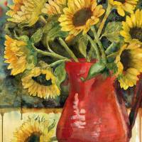 Spirited Sunflowers, watercolor painting Art Prints & Posters by Miriam Schulman