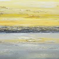 """""Coastal Reflections"" Yellow Grey Abstract"" by ChristineKrainock"
