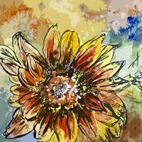 Sunflower Moroccan Eyes Watercolor and Ink