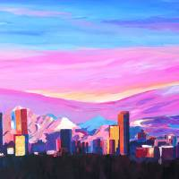 Denver Colorado Skyline with luminous Rocky Mounta Art Prints & Posters by M Bleichner