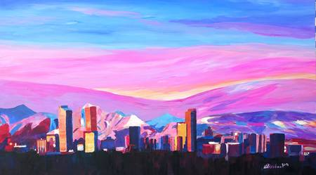 Denver Colorado Skyline with luminous Rocky Mounta