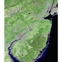 State of New Jersey (with text) image map Art Prints & Posters by Dave Catts