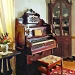 """Organ in Victorian Parlor With Vase"" by susansartgallery"