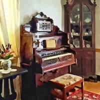 Organ in Victorian Parlor With Vase Art Prints & Posters by Susan Savad