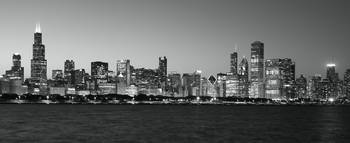 Chicago skyline black and white sunset