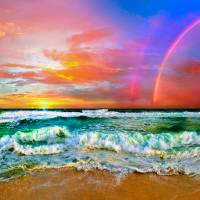 beach rainbow colorful ocean wave sunset Art Prints & Posters by eszra tanner