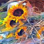 """Basket of Sunflowers"" by susansartgallery"