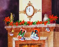Christmas Fireplace Clock Stockings
