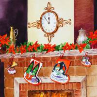 Christmas Fireplace Clock Stockings Art Prints & Posters by Irina Sztukowski