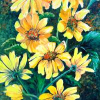 YELLOW SUN DAISES Art Prints & Posters by KARIN DAWN BEST