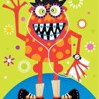 FUN RED MONSTER Art Prints & Posters by Kathy Casey