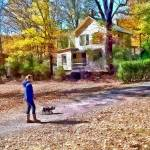 """Autumn - Walking the Dog"" by susansartgallery"